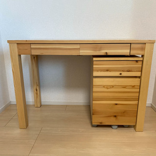 木製学習机 キャビネット付