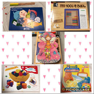知育玩具まとめ売り 100玉そろばん パズル2個 バランスゲーム 釣りゲーム ねんど道具の画像