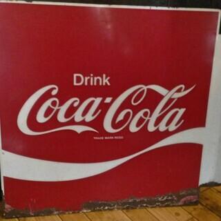 アメリカンビンテージ 古いコカ・コーラの琺瑯看板 両面 ホーロー...