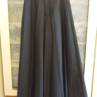 黒のワイドパンツ超 ロング丈ヒダスカート M