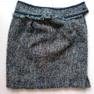 膝上ツイードスカート(緑)