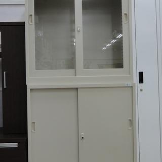 S.K.K. オフィス用ビジネスキャビネット ホワイト 鍵付き【...