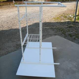 ラック スライド 伸縮 棚 ハンガーラック - 家具