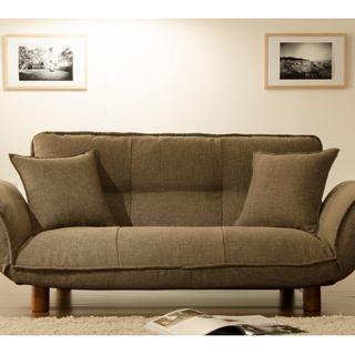 日本製 ソファーベッド 2人掛け ダリアン生地 ブラウン