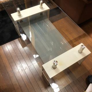 お洒落ガラステーブル☆大きめ白2段