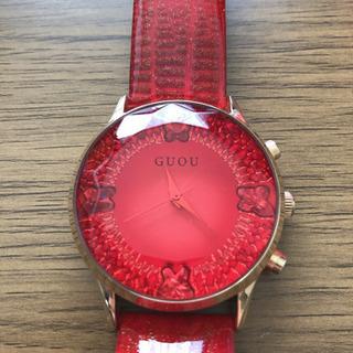 腕時計 キラキラ レディース 赤