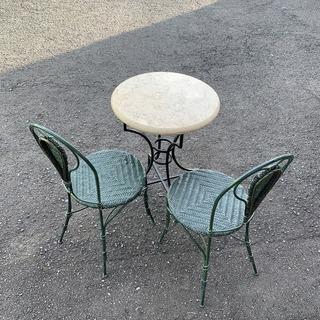 大理石テーブル&チェア3点セット!ガーデン テラス カフェ 複数...