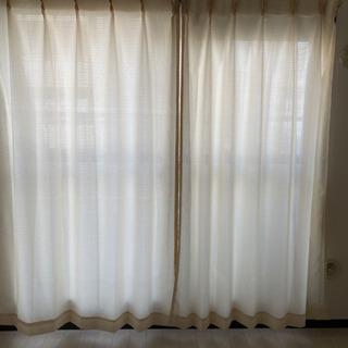 【8ヶ月使用】ドレープカーテン(黄) & レースカーテン(白)