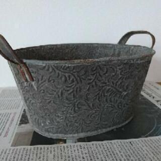 ブリキ 鉢カバー オーバル型 インテリア