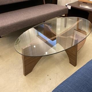 センターテーブル 茶 ガラス天板 中古品