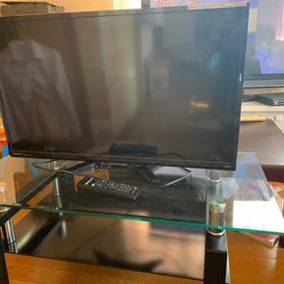 液晶テレビ、ガラステーブル