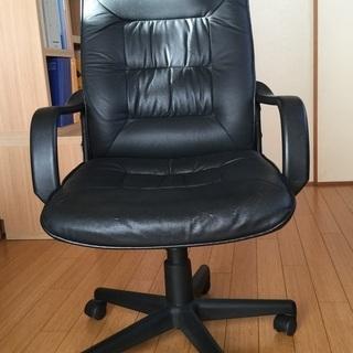 本革 肘掛け付き 座面昇降できるオフィス椅子