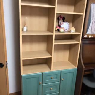 グリーンのきれいな色の本棚です。