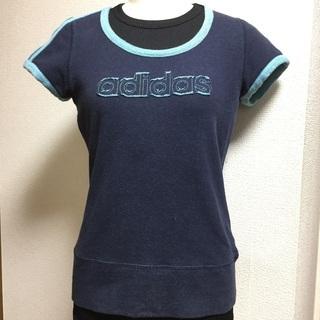 adidas アディダス ネイビー 綿Tシャツ レディースMサイ...