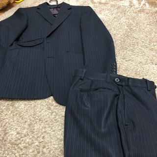【中古】メンズスーツ A3 紺ストライプ