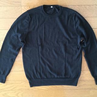 無印良品  ウールシルク洗えるクールネックセーター 黒 婦人M