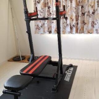 トレーニング器具+バーベルシャフト+バーベル15kg X2