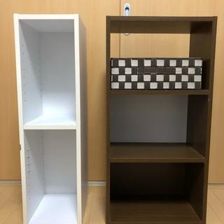 3段カラーボックス☆カゴ付き☆&スリム収納棚(本棚)