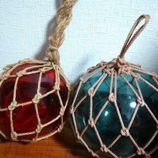 浮き玉 ガラス玉 赤と青 インテリア