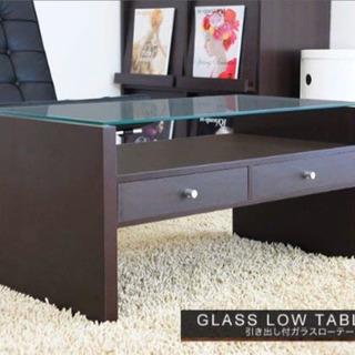 🌟【美品】ローテーブル 強化ガラス 引出し付き