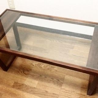 【ローテーブル】B-COMPANY 木製ブラウン×ガラステーブル