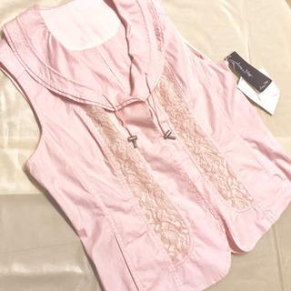 ピンク 襟付き フリル 花ボタン 刺繍 レース ベスト 9号 1...