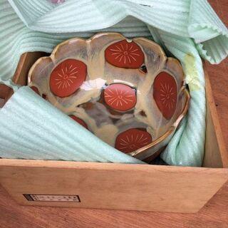 レトロ アンティーク 茶道 高級 陶器 赤菊菓子鉢