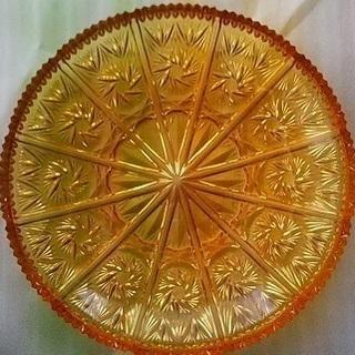 直径30cmくらい オレンジ色のガラスの大皿 【昭和レトロ】