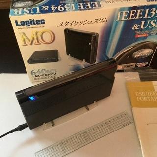 ロジテック IEEE1394&USB 外付けMOドライブ◆used