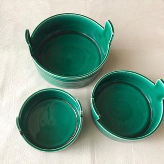 たち吉  三つ鉢  深みのある緑色  器  3個