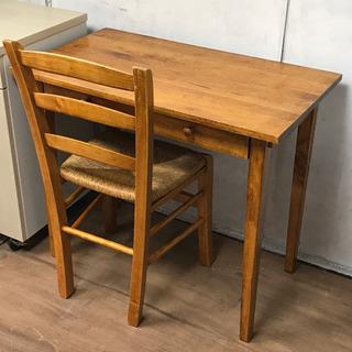木製アンティーク調デスク椅子セット