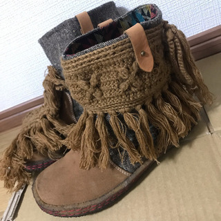 ⚫️Indian  フリンジ付きブーツ