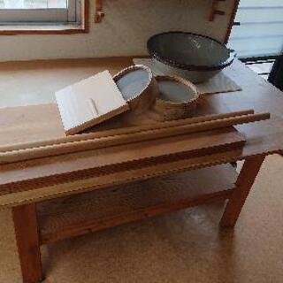 蕎麦打ち台、道具セット(包丁は付きません)