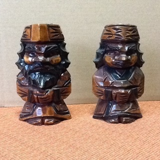 【値下げ200円】ペアセット アイヌ民族・北海道の木彫り人形 郷...
