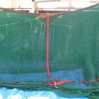 昔ながらの「大蚊帳:かや」綿グリーン無地6畳用