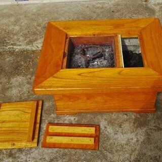 木製テーブル火鉢 五徳、灰 、炭付き 日置市 伊集院町