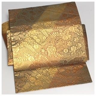 美品 辻が花 金茶 高級袋帯 二部式仕立て 二重太鼓 作り帯 ...