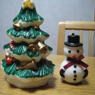 クリスマスツリーと雪だるまのろうそく