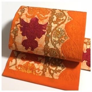 美品 未使用 ろうけつ染め 膨れ織り 上質 正絹 名古屋帯 中古品