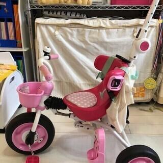 ☆しまじろう☆折りたたみ式スリーステップ三輪車 ピンク