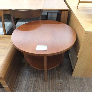 札幌 引き取り ラウンドテーブル 木製 棚付き サイドテーブル ...