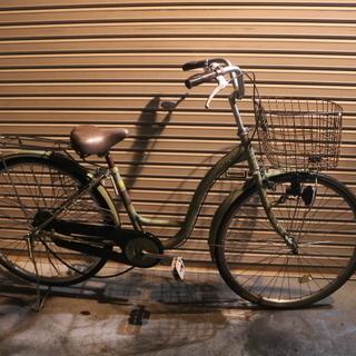26インチ オリーブ色のかわいい自転車