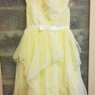美品✨黄色の可愛いドレス 白のロング手袋付き(120~130㎝く...