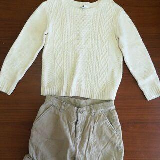 値下げ!交渉130cm女の子用セーターとハーフパンツ
