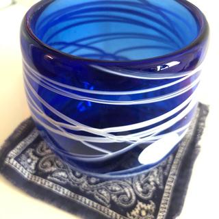 ●手作り ブルータンブラー 青 グラス (コースター付き)