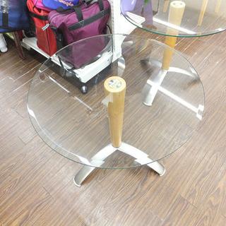 札幌 引き取り ガラス 丸型テーブル ラウンド型 コーヒーテーブ...