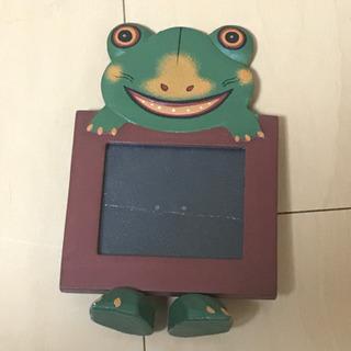 カエルの写真立て 木製