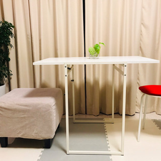 [美品IKEA★イケア 折りたたみテーブル白+ストール+オ…