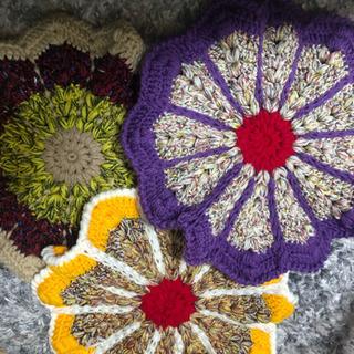 おすすめ😊マーガレット風円座6点セット①🎶手編み