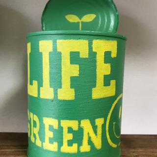 リメイク缶[中]*LIFE GREEN*文字きいろ
